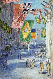 Avenue of the Allies: Brazil, Belgium, 1918 | Hassam | Painting Reproduction
