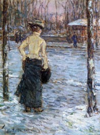 Winter, Central Park, 1901 by Hassam | Painting Reproduction