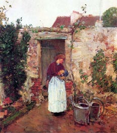 The Garden Door, undated by Hassam | Painting Reproduction