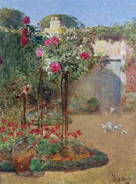 The Rose Garden, 1888 by Hassam | Painting Reproduction