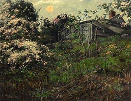 Apple Blossoms and Pink Moon, undated by Hassam | Painting Reproduction