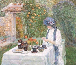 The Terre-Cuite Tea Set (French Tea Garden), 1910 by Hassam | Painting Reproduction