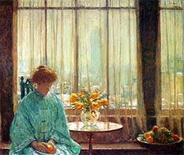 The Breakfast Room, Winter Morning, 1911 by Hassam | Painting Reproduction