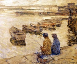 Fishing, 1896 by Hassam | Painting Reproduction