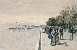 The Beach at Dunkirk, 1883 by Hassam | Painting Reproduction