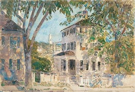 Street in Portsmouth, 1916 by Hassam | Painting Reproduction
