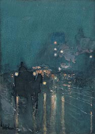 Nocturne, Railway Crossing, Chicago, 1893 by Hassam | Painting Reproduction