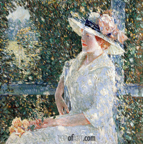 An Outdoor Portrait of Miss Weir, 1909 | Hassam | Gemälde Reproduktion