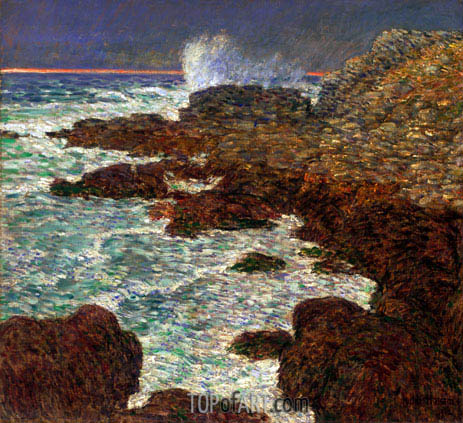 Hassam | Seaweed and Surf, Appledore at Sunset, 1912
