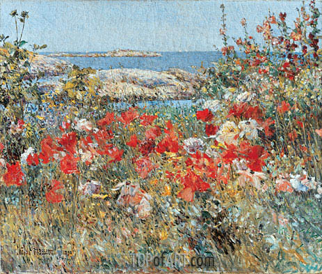 Celia Thaxter's Garden, Isles of Shoals, Maine, 1890 | Hassam | Painting Reproduction