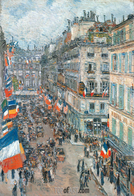 July Fourteenth, Rue Daunou, 1910, 1910 | Hassam | Painting Reproduction