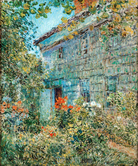Old House and Garden, East Hampton, 1898 | Hassam| Gemälde Reproduktion