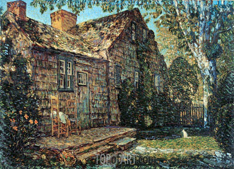Little Old Cottage, Egypt Lane, East Hampton, 1917 | Hassam | Gemälde Reproduktion