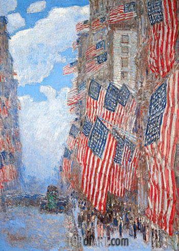 The Fourth of July, 1916, 1916 | Hassam| Gemälde Reproduktion
