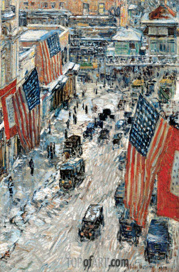 Hassam | Flags on Fifty-seventh Street, The Winter of 1918, 1918