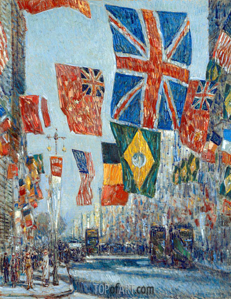 Avenue of the Allies, Great Britain, 1918, 1918 | Hassam | Painting Reproduction