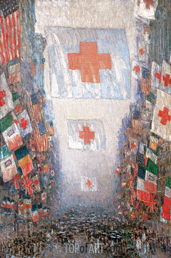 Red Cross Drive, May 1918 (Celebration Day), 1918 | Hassam| Painting Reproduction