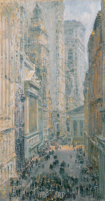Hassam | Lower Manhattan (View Down Broad Street), 1907