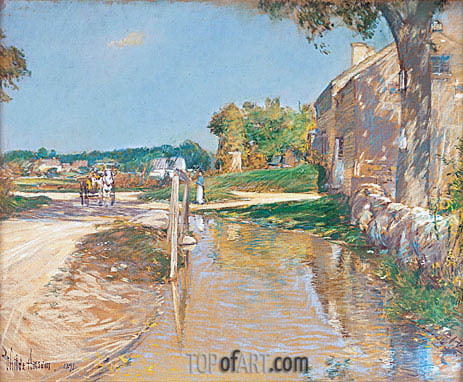 A Country Road, 1891 | Hassam | Painting Reproduction