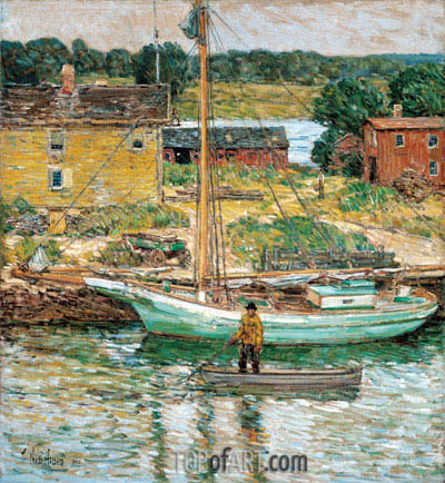Oyster Sloop, Cos Cob, 1902 | Hassam | Painting Reproduction