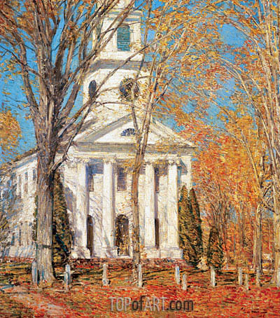 Church at Old Lyme, 1905 | Hassam| Painting Reproduction