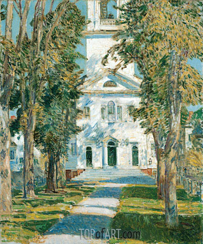 The Church at Gloucester, 1918 | Hassam | Painting Reproduction