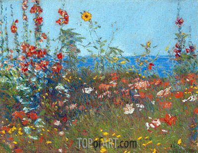 Poppies, Isles of Shoals, c.1890 | Hassam| Painting Reproduction