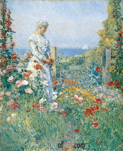 In the Garden (Celia Thaxter in Her Garden), 1892 | Hassam| Painting Reproduction