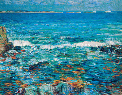 Duck Island from Appledore, 1911 | Hassam| Painting Reproduction