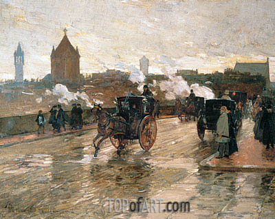 Clearing Sunset (Corner of Berkeley Street and Columbus Avenue), 1890 | Hassam| Painting Reproduction