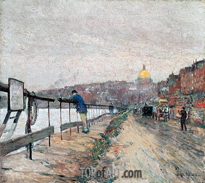 Charles River and Beacon Hill, 1892 | Hassam| Painting Reproduction