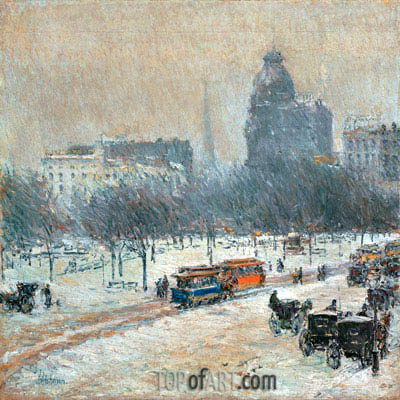 Winter in Union Square, c.1889/90 | Hassam | Painting Reproduction