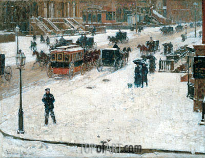 Fifth Avenue in Winter, c.1890 | Hassam| Painting Reproduction