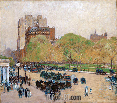 Spring Morning in the Heart of the City, 1890 | Hassam| Painting Reproduction
