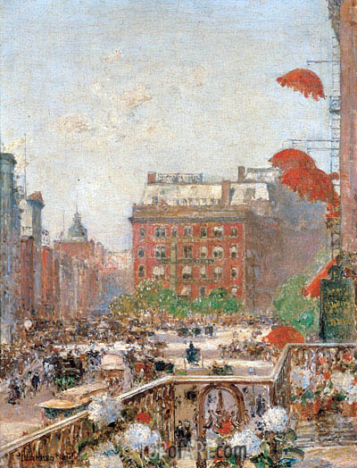 View of Broadway and Fifth Avenue, 1890 | Hassam| Painting Reproduction