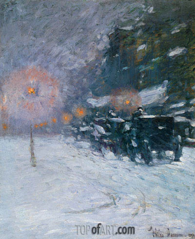 Winter, Midnight, 1894 | Hassam | Gemälde Reproduktion