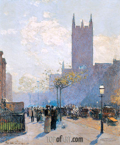 Lower Fifth Avenue, 1890 | Hassam| Painting Reproduction