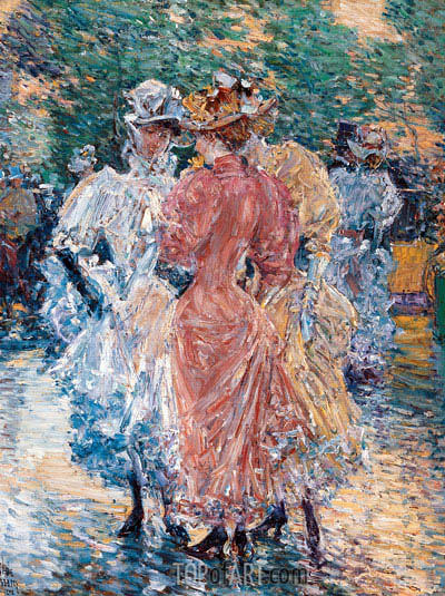 Conversation on the Avenue, 1892 | Hassam | Painting Reproduction