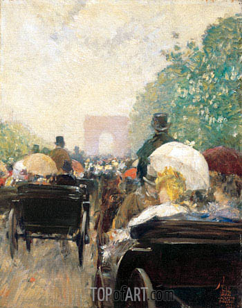 Carriage Parade, 1888 | Hassam| Painting Reproduction