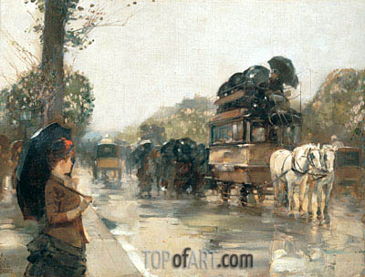 April Showers, Champs Elysees, Paris, 1888 | Hassam| Painting Reproduction