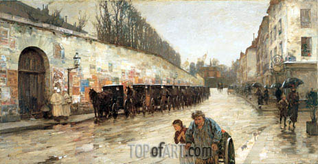 Une Averse - rue Bonaparte, 1887 | Hassam | Painting Reproduction