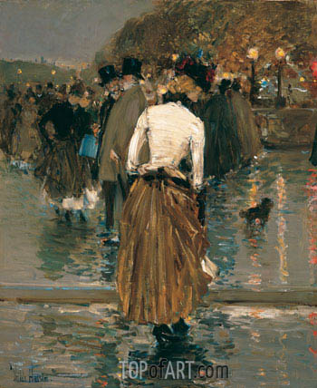 Promenade at Sunset, Paris, c.1888/89 | Hassam| Painting Reproduction