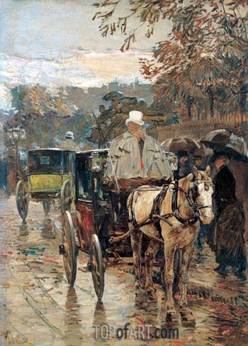 Carriage, Rue Bonaparte, 1888 | Hassam| Painting Reproduction