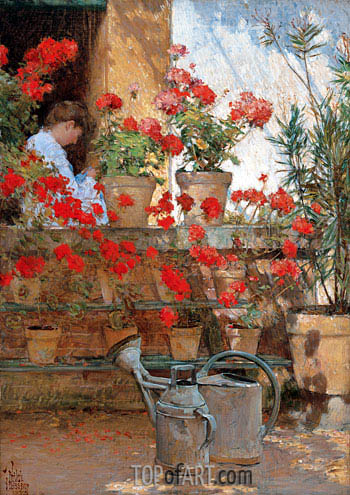 Geraniums, c.1888/89 | Hassam | Painting Reproduction