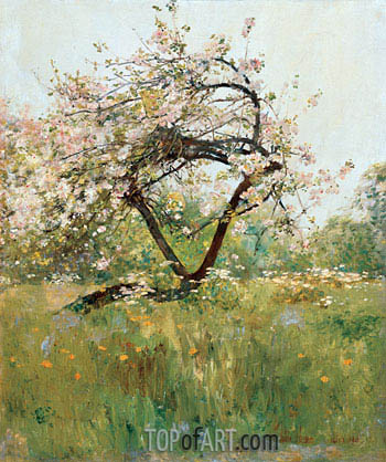 Peach Blossoms - Villiers-le-Bel, c.1887/89 | Hassam | Painting Reproduction
