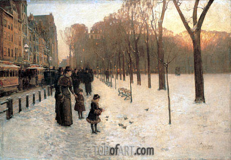 Boston Common at Twilight, c.1885/86 | Hassam| Painting Reproduction