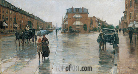 Rainy Day, Columbus Avenue, Boston, 1885 | Hassam| Gemälde Reproduktion