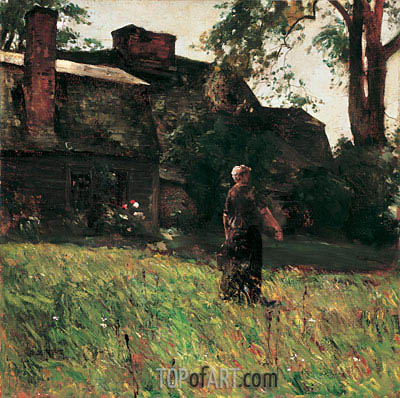 The Old Fairbanks House, Dedham, Massachusetts, c.1884 | Hassam| Painting Reproduction