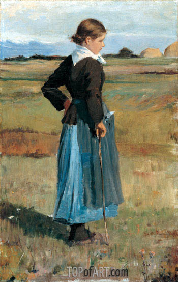 French Peasant Girl, c.1883 | Hassam| Gemälde Reproduktion