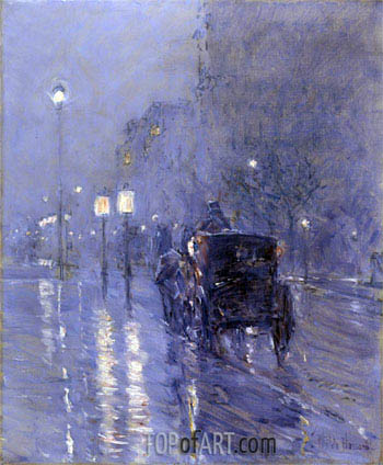 Evening in New York (Rainy Midnight), c.1890 | Hassam| Painting Reproduction